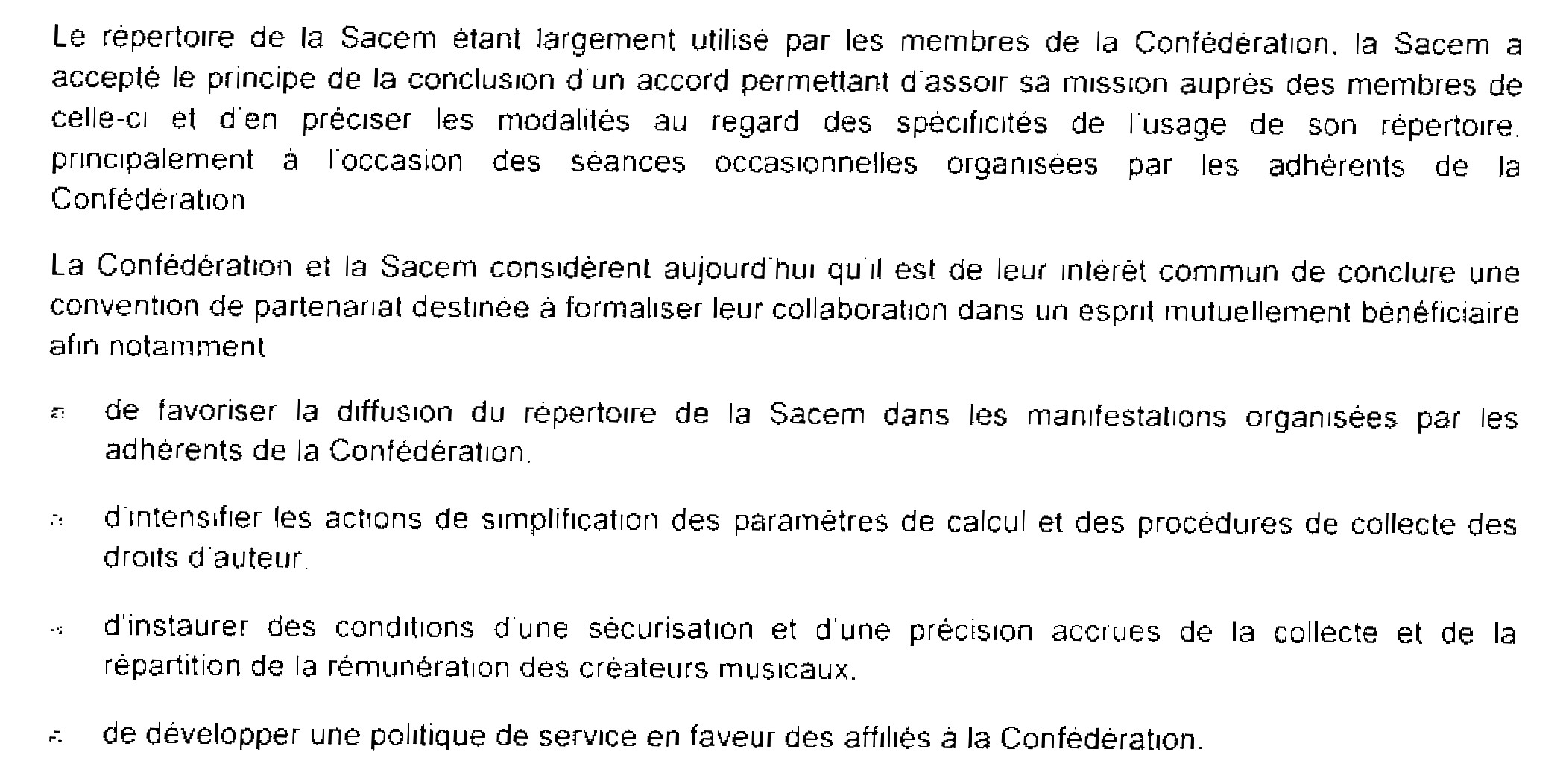 SACEM conditions