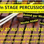 Stage Percussions à Remiremont (88) du 27 au 30 avril 2014
