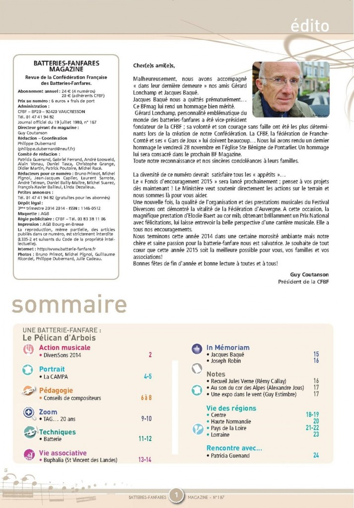 Sommaire BF Mag n°187
