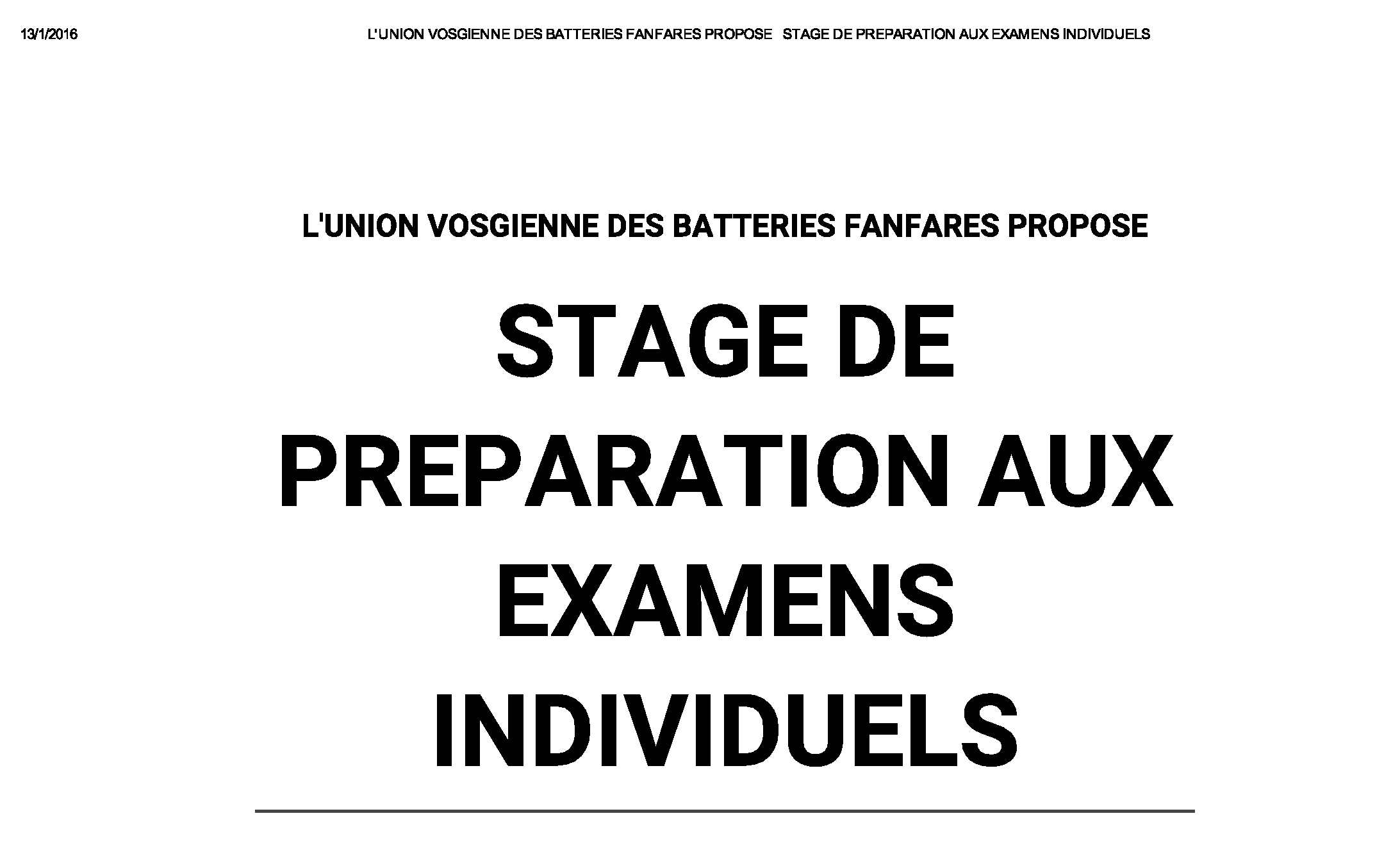 UVBF Stage examens individuels