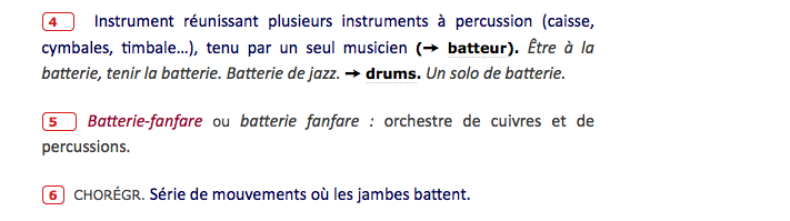 Le mot batterie fanfare dans le dictionnaire 2017 cfbf for Modernite definition